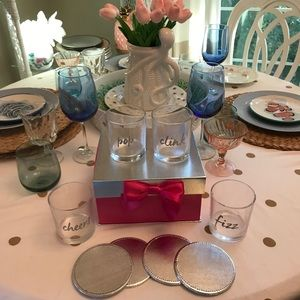 4 Glass 4 Coasters Pink Box Pop Fizz Clink Cheers